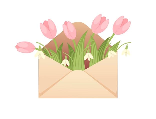 Ouvrez l'enveloppe de papier écologique avec des fleurs de printemps illustration vectorielle plane design créatif sur fond blanc.