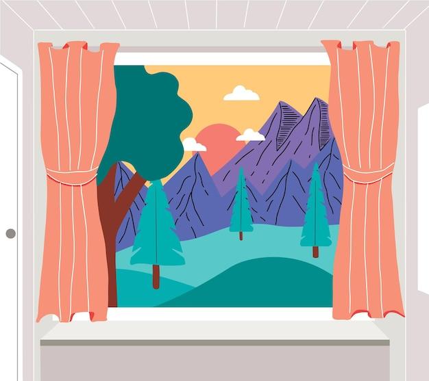 Ouvrez la fenêtre avec une vue de paysage. les sommets des montagnes et les arbres. illustration design plat.