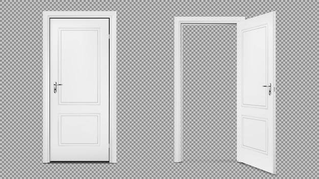 Ouvrez et fermez la porte réaliste isolée sur fond transparent