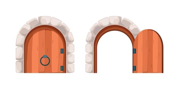 Ouvrez Les Portes Fermées. Acier Antique Et Portes En Bois Isolat Antique Extérieur Illustration. Vecteur Premium