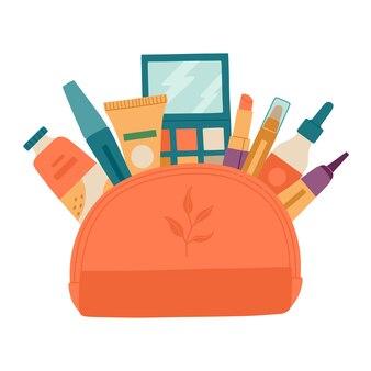 Ouvrez le sac à cosmétiques avec divers objets de maquillage décoratifs pour les filles. illustration dessinée à la main, isolée sur fond blanc