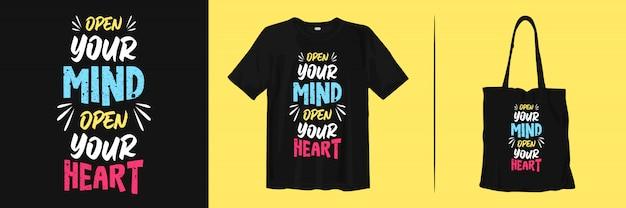 Ouvrez votre esprit, ouvrez votre cœur. citations de typographie élégantes pour la mode et l'habillement