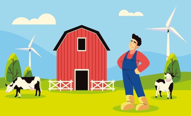 Ouvrier agricole et vaches