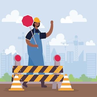 Ouvrier constructeur avec barricade et conception d'illustration vectorielle de scène de signal d'arrêt