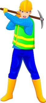 Ouvrier construction, tenue, pioche