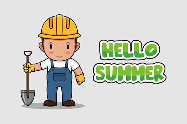 Ouvrier du bâtiment avec bonjour bannière de voeux d'été