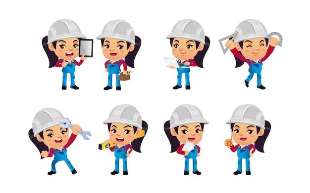 Ouvrier du bâtiment avec des poses différentes