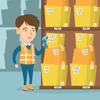 Ouvrier d'entrepôt caucasien numérisation code à barres sur la boîte