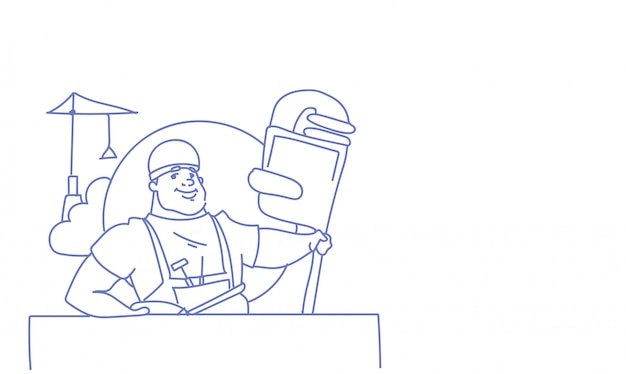 Ouvrier heureux célébration de la fête du travail internationale peut vacances croquis de carte de voeux vacances doodle