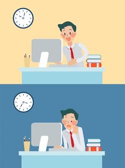 Ouvrier heureux et ennuyeux
