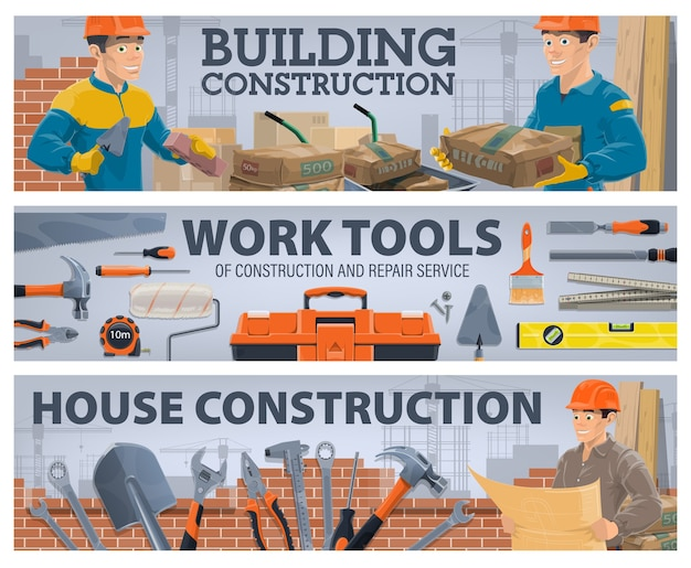 Ouvrier de l'industrie de la construction et bannières d'outils de travail