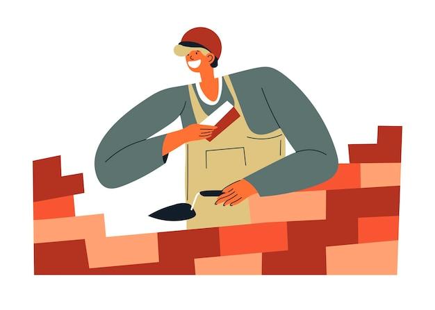 Ouvrier maçon avec vecteur de ciment et de briques