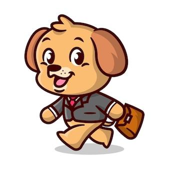 L'ouvrier mignon de chiot brun marche et apporte un sac brun mascotte de dessin animé