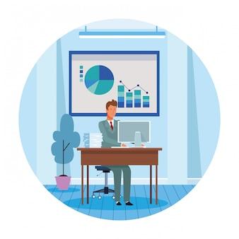 Ouvrier, ordinateur, bureau
