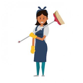 Ouvrier plus propre avec des produits de nettoyage et du matériel