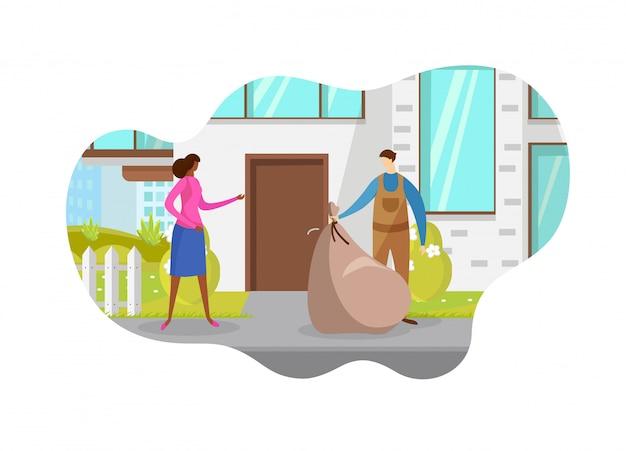 Ouvrier ramassant la litière dans la rue. des ordures.