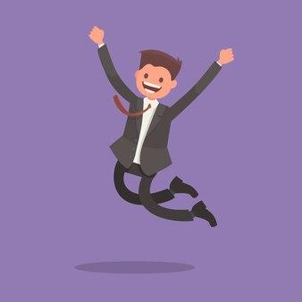 L'ouvrier saute de joie. émotions de la victoire. moment joyeux
