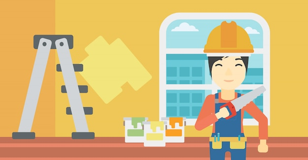 Ouvrier souriant à la scie.