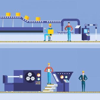 Ouvriers dans une usine technique