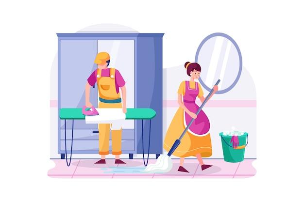 Les ouvriers du nettoyage sont en service.
