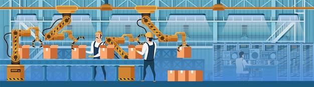 Ouvriers d'entrepôt travaillant sur une ligne de convoyeur