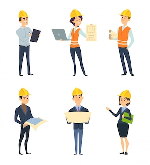 Ouvriers industriels. architecte et ingénieur hommes et femmes