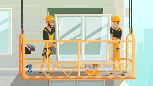 Ouvriers installant une fenêtre sur une construction
