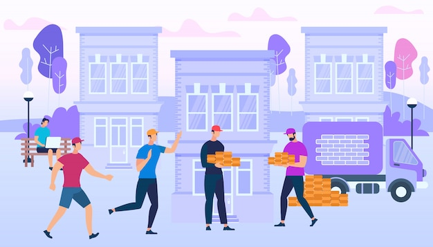 Ouvriers tenant des briques sur le bâtiment de la ville
