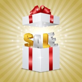 Ouvrir la boîte cadeau réaliste avec des lettres