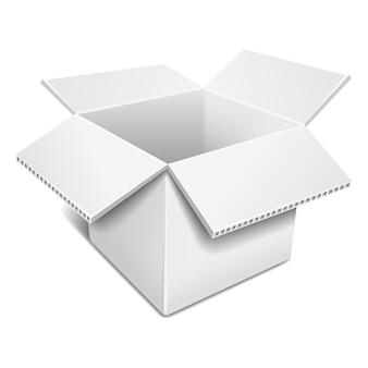 Ouvrir la boîte en carton blanche