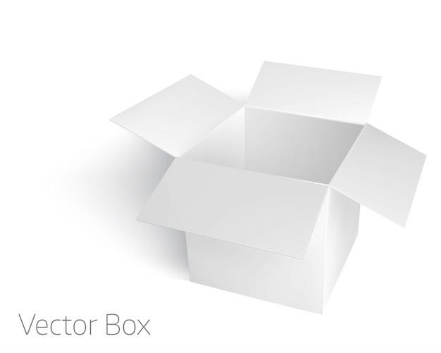 Ouvrir la boîte vide blanche