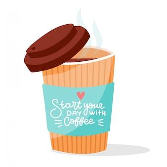Ouvrir la tasse de papier café fumant avec lettrage de calligraphie dessiné à la main, illustration de dessin animé.