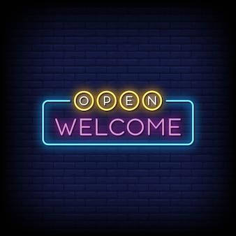 Ouvrir le vecteur de texte de style enseignes au néon de bienvenue