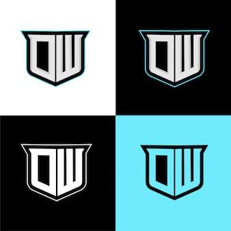Ow modèle de logo de sport initial
