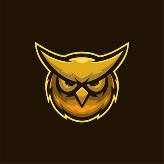 Owl animal head cartoon logo template illustration esport logo gaming premium vector