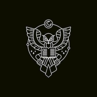 Owl book illustration mono-line