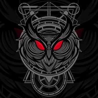 Owl head géométrie sacrée vector illustration