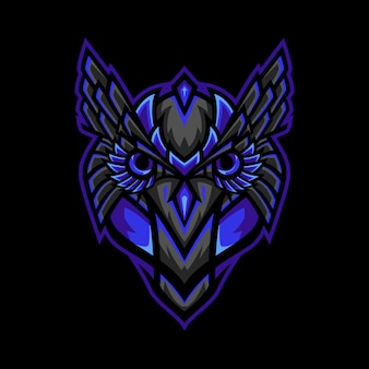 Owl head tribal mascot logo illustration
