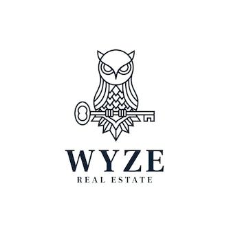 Owl logo inspiration clés immobilières dessin au trait