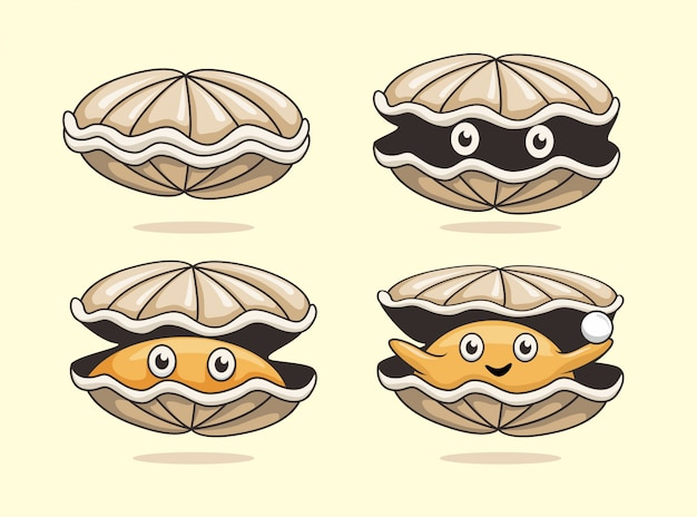 Oyster cartoon sea shell collection