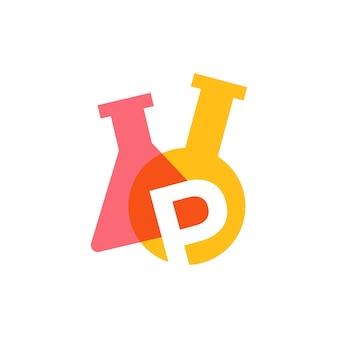 P lettre laboratoire verrerie bécher logo vector illustration icône