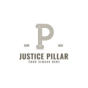 P lettre logo justice et cabinet d'avocats pilier audacieux professionnel line art