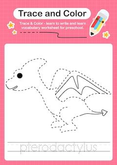P traçage du mot pour les dinosaures et coloration de la feuille de calcul avec le mot pterodactylus