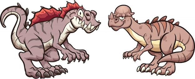Pachycephalosaurus et acrocanthosaurus