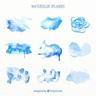 Pack abstrait bleu éclaboussures d'aquarelle