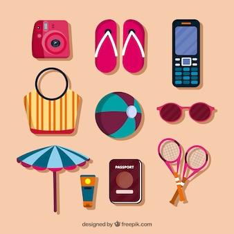 Pack accessoires de voyage d'été en conception plate