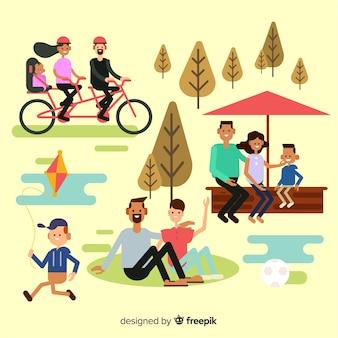 Pack d'activités familiales en plein air dessinées à la main