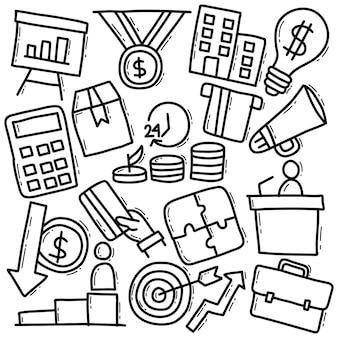 Pack d'affaires dans le style doodle