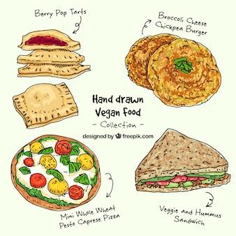 Pack alimentaire végétalien dessiné à la main