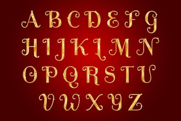 Pack d'alphabet de noël étincelant doré